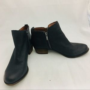 Lucky Brand Basel Ankle Boots Dark Blue Leather
